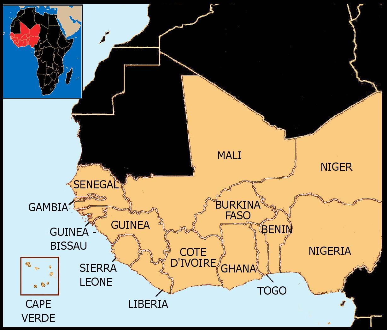 Senegal Afryka Zachodnia Mapa Mapa Senegal Mapa Afryki